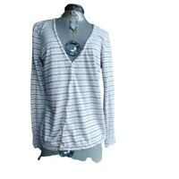 All Saints Womens Long Sleeved Button Down Gray Striped Shirt V Neck Size Medium