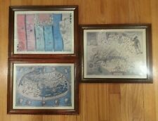 Lot of 3 Antique Reprod. Maps: Virginia 1612, World 150, London to Oxford 1675