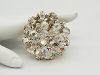 VINTAGE CONFIRMED JULIANA CLEAR RHINESTONE & AB DANGLE BEADS CHA CHA PIN BROOCH!
