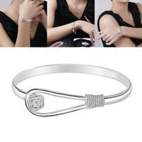 Frauen  Silber Überzogene Armband Schmuck Silber Lady Armreif Geschenk .SS^!