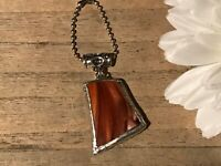Recycled Broken Porcelain Jewelry, Brown Marble Pendant