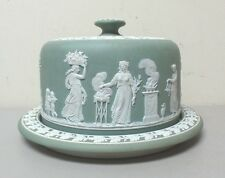 """ANTIQUE WEDGWOOD JASPERWARE LARGE SAGE GREEN CHEESE DOME & 11"""" BASE - EXCELLENT!"""