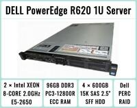 DELL PowerEdge R620 Server 2×8-Core E5-2650 Xeon 2.0GHz + 96GB RAM + 4×600GB 15K