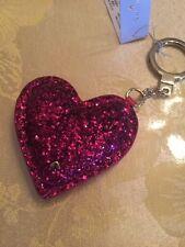 $68 KATE SPADE GLITTER HEART KEYCHAIN KEY RING HANDBAG CHARM RED  #MK1A