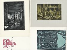 SUPER Archive of 4 Wood Engraved Prints by Master Artist John DePol Signed 1960s