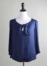 CABI $89 Modern Knot Bow 5525 Polka Dot Structured Blouse Top in Navy Size XS