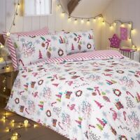 Sleepdown Merry And Bright Pink Bedding Set  | Christmas Duvet Sets & Pillow ...