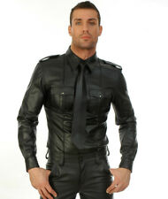 New Genuine leather Police SHIRT WITH PIPING Roleplay Full Sleeve Fetish Gay