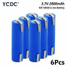 6 un. Batería recargable de Li-Ion 18650 3.7V 2800mAh con fichas para LED Linterna