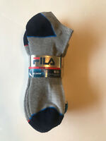 New Fila Men`s Absorb Dry No Show 6 Pairs Sport Gym Athletic Socks