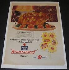 Print Ad 1960 FOOD Maple Leaf Tendersweet Ham Honey-Orange Glaze Recipe