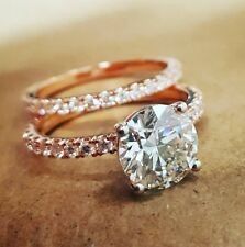 1.50ctw Natural Round Pave Diamond Engagement Bridal Set - GIA Certified