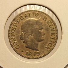 1879 B Switzerland 5 Rappen Key Date Coin with Holder thecoindigger World Estate