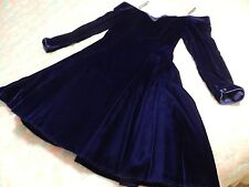 Dark Blue Velvet Long sleeve Over The Shoulder Prom Formal Dress 1990's