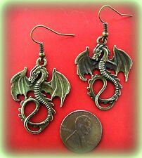 Winged Sea Serpant Dragon Jewelry Earrings - Antique Art Nouveau Style