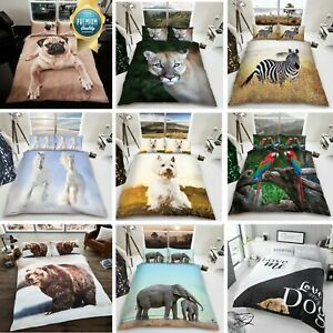 3D Duvet Cover Set Animal Bedding Quilt with Pillowcase Single Double King Sizes