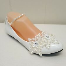 Getmorebeauty 7.5 Pearl Lace Shoes Flats Wedding Formal Ankle Strap Ivory Floral
