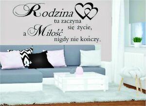 Rodzina Milosc... polskie naklejki na sciane - wall decor- polskie cytaty
