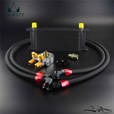 Universal 16 Row Oil Cooler+AN10 Oil Adapter w/Thermostat +Braided Hose Line Kit