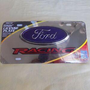 1 BRAND NEW Pilot  Ford Racing Logo 3D Logo Chrome S/S License Plate Frame