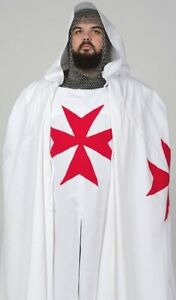 MEDIEVAL Red Templar Tunic & Cloak + Aluminium Butted Chainmail Coif/Hood