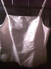 Pure Silk Cream Austin Reed Formal Sequinned Strappy Top sz10. Unique!