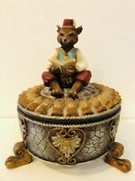 Fox Figure In Moroccan Fez & Vest Reading Book On Footed Trinket Box Candy Dish