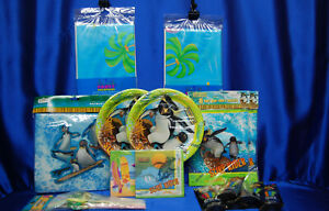 SURFS UP Party Set # 19 Napkins Dinner Tablecover Straws Bags Glow Sticks