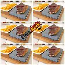 Hot Stone Cooking Steak Dinner Black Rock Grill Set 6 Lava Sizzling Plate HO-09