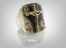 Crucified Jesus Christ Brass & Solid Sterling Silver 925 Handmade Ring Ezi Zino