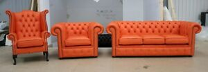CHESTERFIELD 3 PIECE TUFTED BUTTONED 3+1+1 SOFA ORANGE LEATHER SUITE