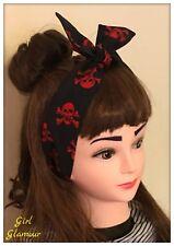 Red Skull Crossbones Fabric Hair Hairband Bandana Headscarf Bow Pirate Costume