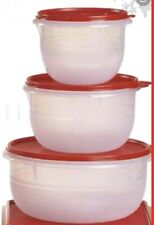 NEW TUPPERWARE 3PC CLEAR MIXING BOWL SET FLAT BOTTOM PREP MIX STORE + RED SEALS