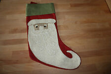 POTTERY BARN CHRISTMAS SANTA FACE STOCKING EMBROIDERED NEW W/ TAGS