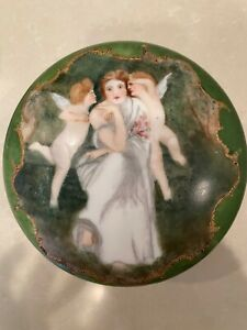 French Limoges Hand Painted Large Round Box Trinket Jewelry Angel Angels
