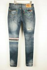 Levi's Mens 501 Customised Blue Slim Fit Button Fly Ripped Jeans 34 x 33