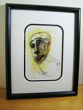 Signed Paco Proano Orig Mixed Media Ink Watercolor on Paper Framed Untitled