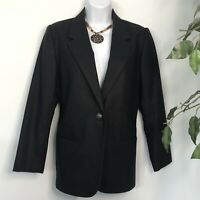 SAG HARBOR Petite Womens Size 6P Pure Wool Black Blazer Fully Lined