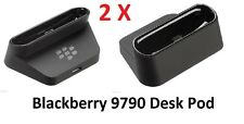 2 Genuino BlackBerry Bold 9790 Desktop Charging Pod Cuna Soporte + 2 X 1m Cables