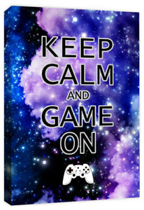 Keep Calm & Game On - Computer Controller Gaming Quote Canvas Art Print Picture