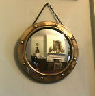 Old Antique Embossed Brass Covex Glass Circular Wall Mirror c.1920 Vintage fine