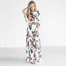 Women Floral Long Maxi Dress Summer Evening Party Beach Plus Size S-6XL Lot ST