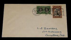 Vintage Cover,CANADA,POSTAL HISTORY,1939 Royal Tour Train,War Memorial,Princess