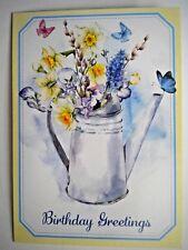 """BIRTHDAY GREETINGS"" SPRING FLOWERS GREETING CARD + DESIGNER ENVELOPE"