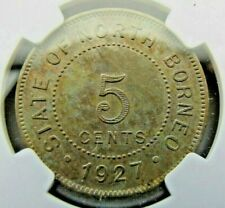 British North Borneo Five Cents 1927-H NGC AU details