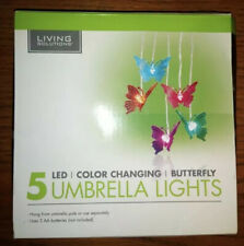 NIB - Living Solutions 5 LED Color Changing Butterfly Umbrella Lights