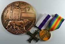 Full Size Bronze World War 1 Memorial/Death Plaque and Medals. George V Cross