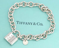 TIFFANY&Co 1837 Lock Charm Bracelet Silver 925 Bangle w/BOX v1882