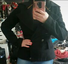 GUESS JEAN'S Black 100% Wool Peplum Style Jacket Size M (UK 10 or 12)