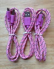 3x pcs 3ft 1M Lot PINK Braided MicroUSB Charger Cable for Samsung Android HTC LG